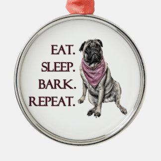Äta, sova, skälla, repetitionmops julgransprydnad metall