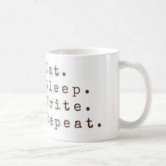 Äta, sova, skriv, upprepa vit mugg