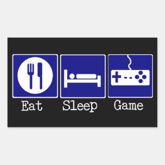 Äta, sova, spela retangel klistermärke