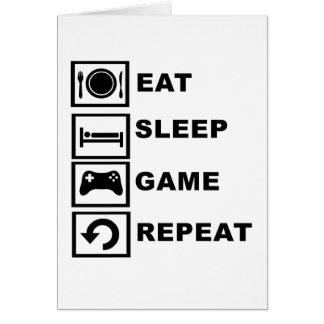 Äta, sova, spela, upprepa hälsningskort