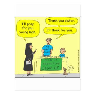 Ateist 215 ska jag tänkan för du-färg tecknad vykort