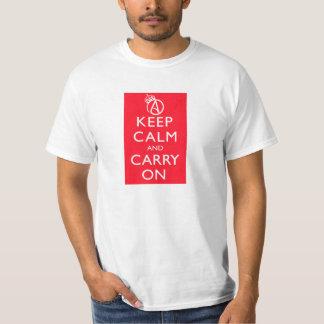 Ateistbehållalugn och bär på affischskjortan tee