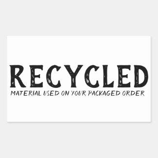 Återanvänd materiell använd Repurpose sändnings Rektangulärt Klistermärke