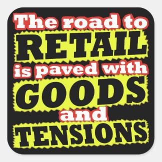 Återförsäljnings- godor och fyrkantigt klistermärke