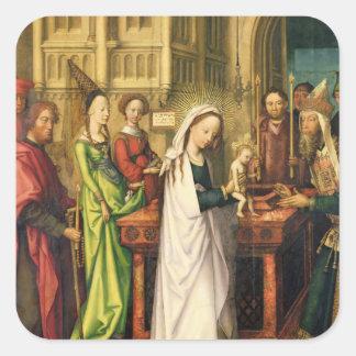 Återgivning av Kristus i tempelet, 1500 Fyrkantigt Klistermärke