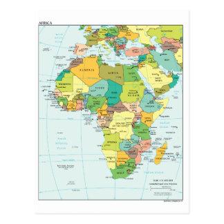 Återhållsam karta för afrika vykort