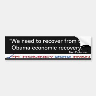 Återställ från Obama ekonomisk Bildekal