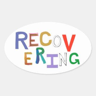 Återställa läka skraj ordkonst för ny början ovalt klistermärke