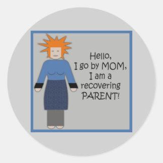 Återställa mammablått runt klistermärke