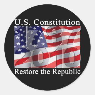 Återställande republikklistermärkearna runt klistermärke
