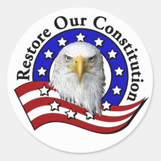 Återställande vår konstitutionklistermärke runt klistermärke