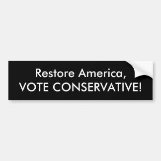 återställandet Amerika röstar konservativet Bildekal