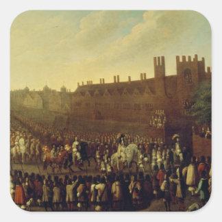 Återställandet av Charles II på Whitehall Fyrkantigt Klistermärke