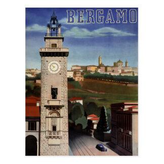 Återställd Bergamo vintage resoraffisch Vykort