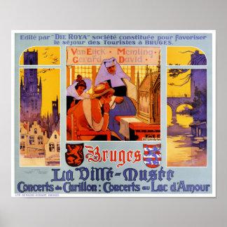 Återställd Bruges vintage resoraffisch Poster