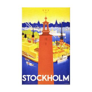Återställd Stockholm vintage resoraffisch Canvastryck