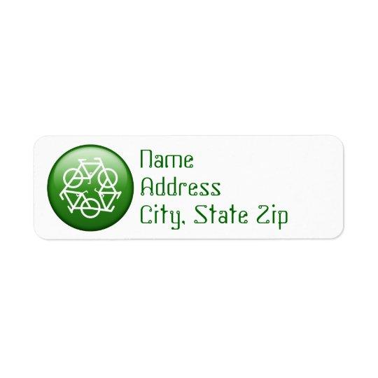 Återvinnalogotyp med cyklar returadress etikett