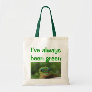 Återvinnan återanvänder den gröna geckoen budget tygkasse
