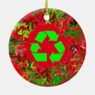 återvinnan går grön jul julgransprydnad keramik