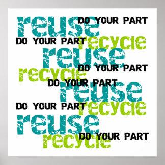 Återvinnan gör dina delT-tröja och gåvor Poster