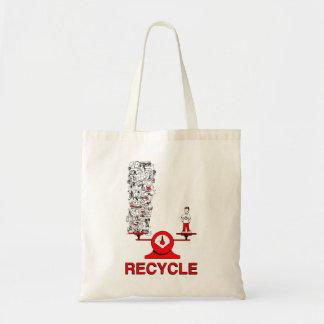 Återvinnasopor hänger lös budget tygkasse