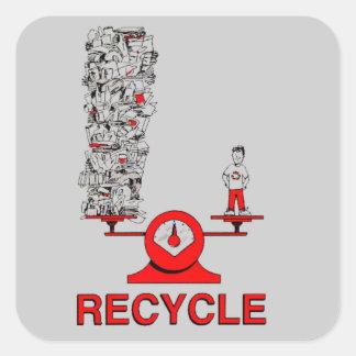 Återvinnasoporklistermärke Fyrkantigt Klistermärke
