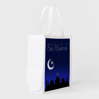 Återvinningsbar Eid Mubarak hälsning - hänga lös Återanvändbar Påse