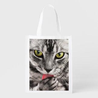 Återvinningsbar shopping bag för tabby katt återanvändbar påse