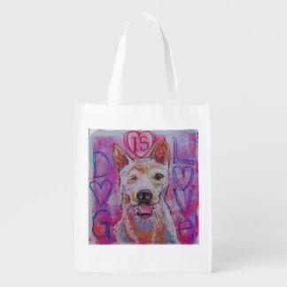Återvinningsbar shopping bag med hund design återanvändbar påse