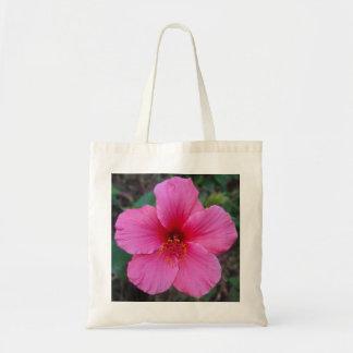 Återvinningsbar toto för rosa hibiskusblomma budget tygkasse