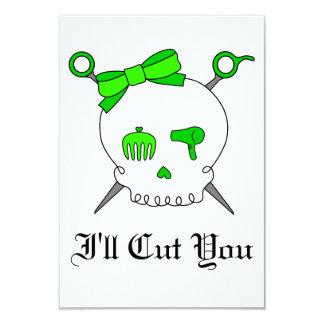 Åtfölja skalle för hår & sax (limefruktgrönt) 8,9 x 12,7 cm inbjudningskort