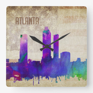 Atlanta för vattenfärgstad för GA | horisont Fyrkantig Klocka
