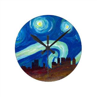Atlanta horisontSilhouette med Starry natt Rund Klocka