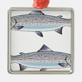 Atlantisk illustration för laxhavfisk julgransprydnad metall