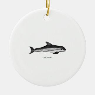 Atlantisk vit sid delfinlogotypen julgransprydnad keramik