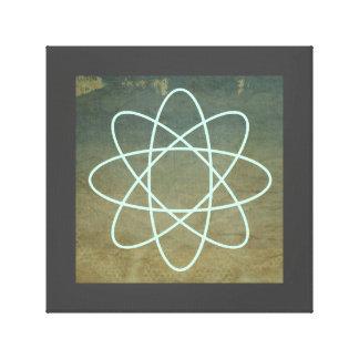 Atomen på kanstött målar bakgrund med röker canvastryck