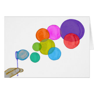 Att blåsa bubblar (regnbågen) hälsningskort
