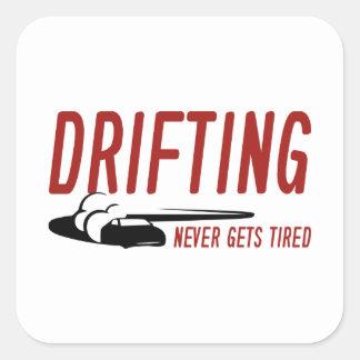 Att driva får aldrig trött fyrkantigt klistermärke