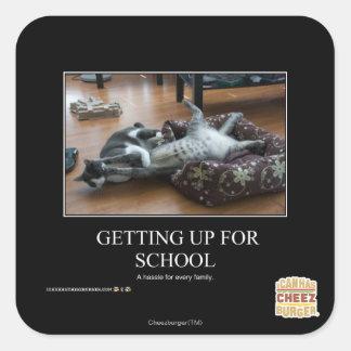 Att få upp för skolar fyrkantigt klistermärke