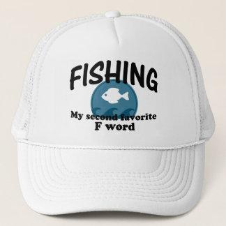 Att fiska understöder ord för favorit F Truckerkeps