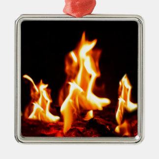 Att flamma flammar silverfärgad fyrkantigt julgransprydnad