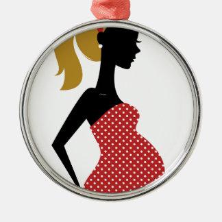 Att förbluffa räcker den röda målade flickan julgransprydnad metall