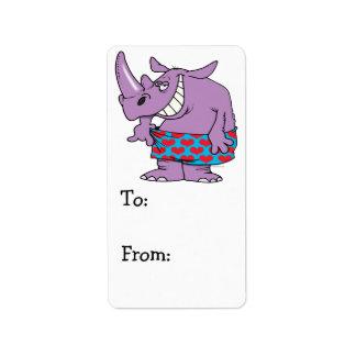 att förlora väger rolig noshörning i boxare adressetikett