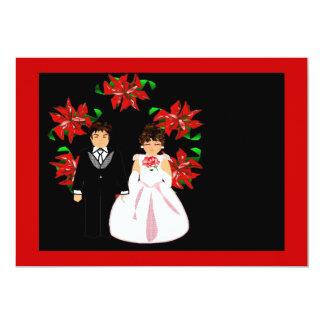 Att gifta sig för jul kopplar ihop kranen i röda 12,7 x 17,8 cm inbjudningskort