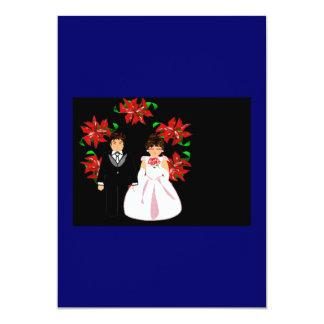 Att gifta sig för jul kopplar ihop med kranen i 12,7 x 17,8 cm inbjudningskort