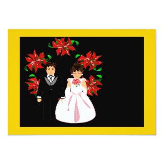 Att gifta sig för jul kopplar ihop med kranen 12,7 x 17,8 cm inbjudningskort
