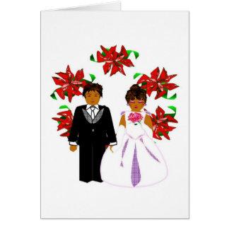 Att gifta sig för jul kopplar ihop med kranen hälsnings kort