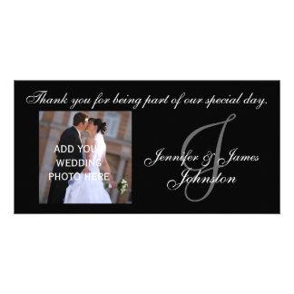 Att gifta sig fotograferar tackkortMonogram J Fotokort