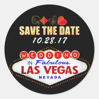 Att gifta sig i Las Vegas undertecknar ljus spara Runt Klistermärke