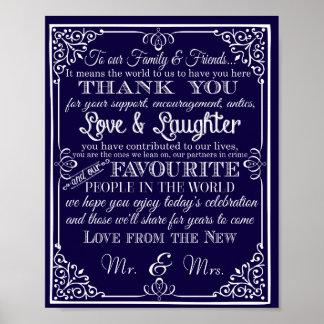 Att gifta sig undertecknar tackar dig från nya poster